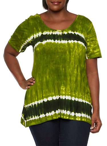 Plus Size Tie-Dye Print Short Sleeve Top with Ripped Back,GREEN,large