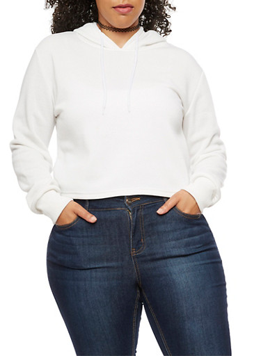 Plus Size Solid Hoodie,OFF WHITE,large