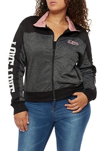 Plus Size Love Zip Up Track Jacket,CHARCOAL BLACK,large