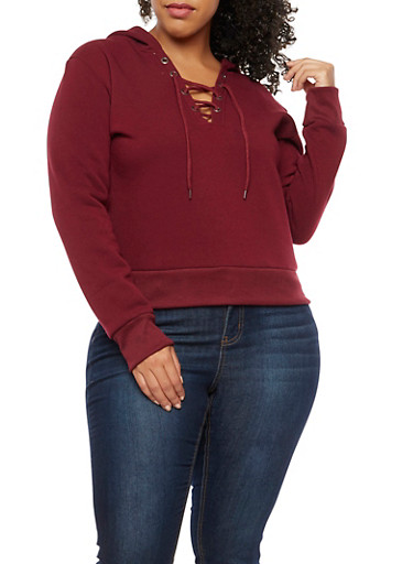 Plus Size Lace Up Sweatshirt,BURGUNDY,large