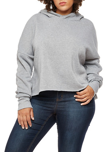Plus Size Long Sleeve Hooded Sweatshirt,HEATHER,large