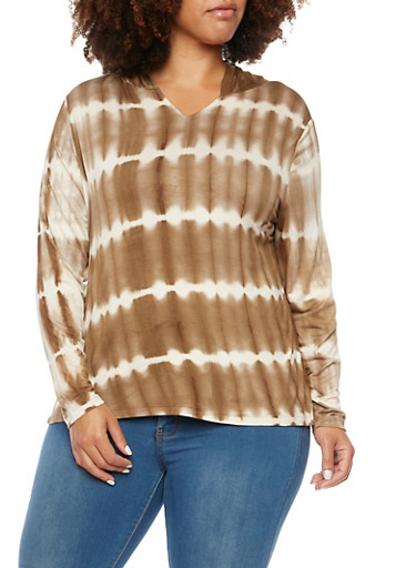 Plus Size Hoodie with Tie Dye Stripes,TAN (TAUPE),large