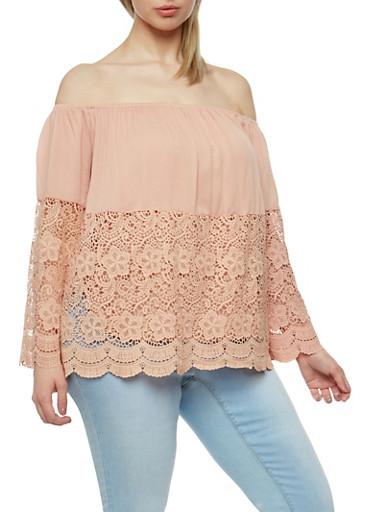 Plus Size Off the Shoulder Half Crochet Peasant Top,MAUVE,large