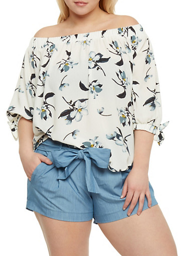 Plus Size Off the Shoulder Floral Top,IVORY,large