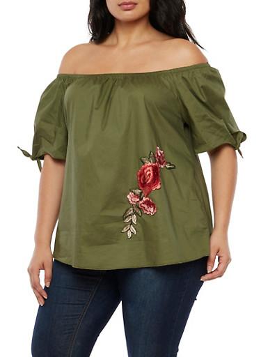 Plus Size Floral Applique Off the Shoulder Top,ARMY,large