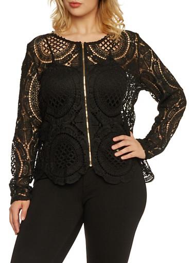 Plus Size Crochet Jacket with Zip Front,BLACK,large