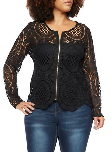 Plus Size Crochet Jacket,BLACK,large