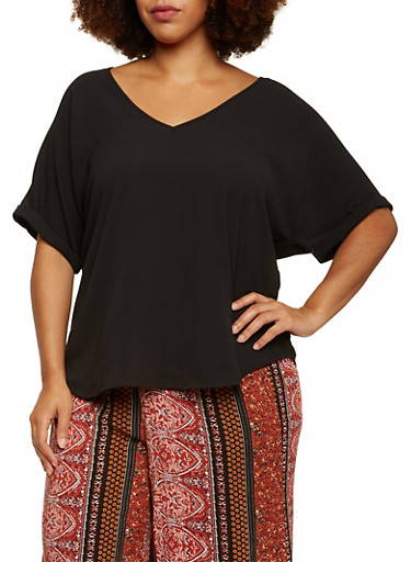Plus Size V Neck Top with Short Sleeves,BLACK,large