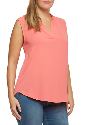 Plus Size Popover Top with Mandarin Collar,DK CORAL,large