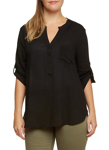 Plus Size Semi Sheer Top with Bust Pocket,BLACK,large