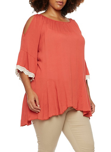 Plus Size Cold Shoulder Top with Crochet Bell Sleeves,RUST,large
