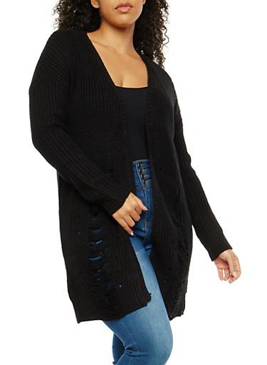 Plus Size Slashed Knit Cardigan,BLACK,large