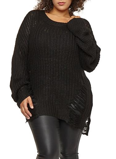 Plus Size Long Slashed Knit Sweater,BLACK,large
