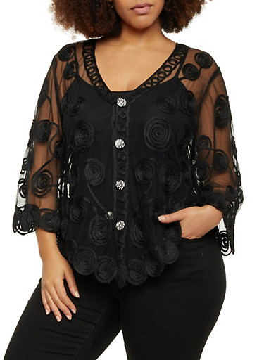 Plus Size Button Front Embroidered Mesh Poncho,BLACK,large