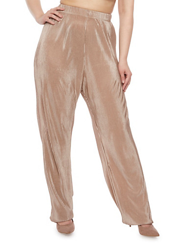 Plus Size Pleated Palazzo Pants,TAUPE,large