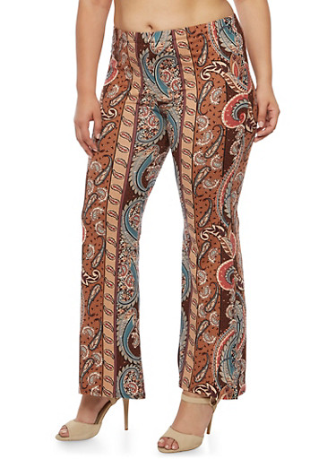 Plus Size Printed Flared Pants,MINT,large