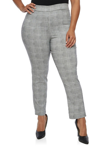 Plus Size Printed Pull On Ankle Pants,BLACK/WHITE,large