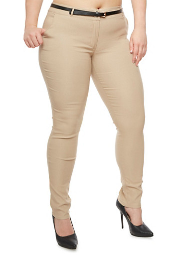 Plus Size Skinny Belted Pants,BEIGE,large