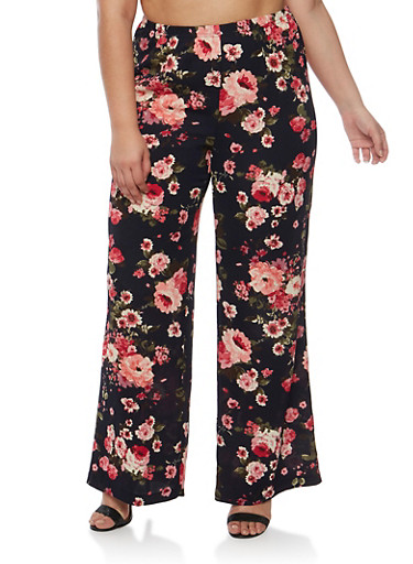 Plus Size Printed Palazzo Pants,NAVY FLORAL,large