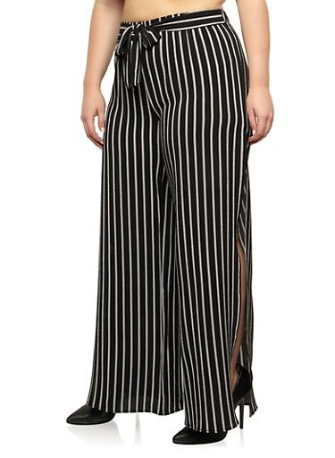 Plus Size Stripe Side Slit Pants with Tie Waist,BLACK/WHITE,large