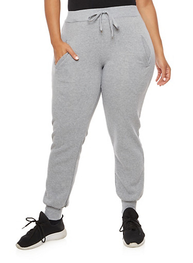 Plus Size Solid Sweatpants,HEATHER,large