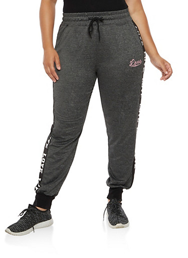 Plus Size Love Graphic Joggers,CHARCOAL BLACK,large