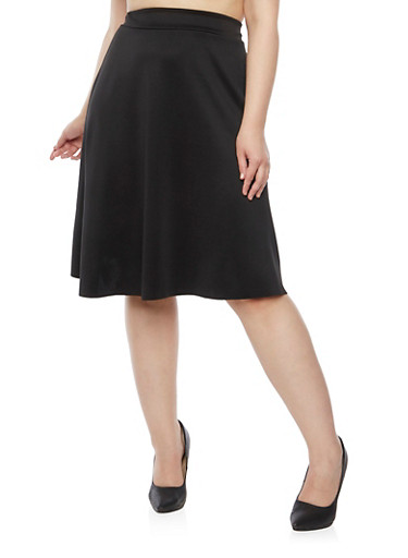 Plus Size A Line Skirt with Box Pleats,BLACK,large