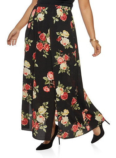 Plus Size Floral Crepe Knit High Slit Maxi Skirt at Rainbow Shops in Jacksonville, FL | Tuggl