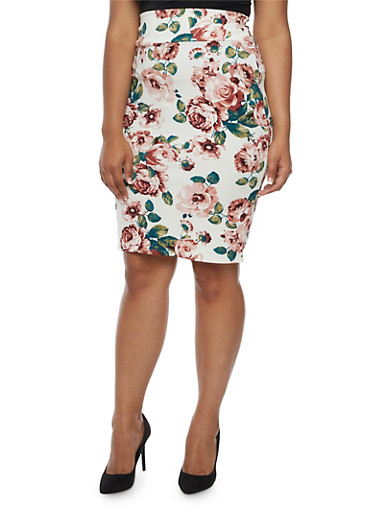 Plus Size Floral Pencil Skirt,WHITE,large