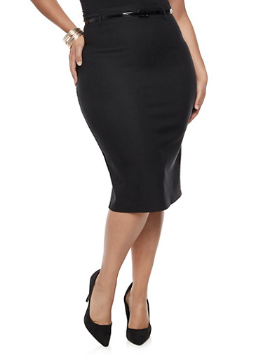 Plus Size Belted Pencil Skirt at Rainbow Shops in Daytona Beach, FL | Tuggl