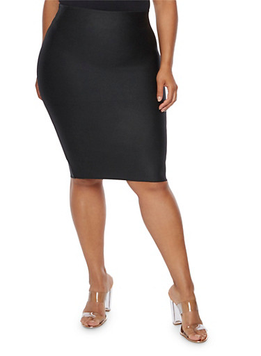Plus Size Bandage Solid Pencil Skirt,BLACK,large