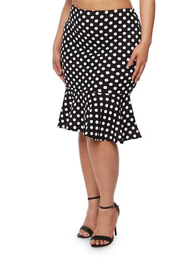 Plus Size Polka Dot Pencil Skirt with Flounce Hem,BLACK/WHITE,large