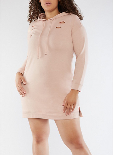 Plus Size Laser Cut Sweatshirt Dress,ROSE DUST,large