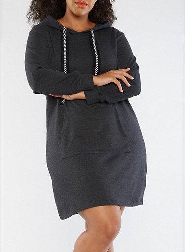 Plus Size Hooded Sweater Dress,CHARCOAL,large