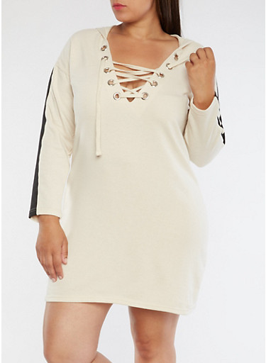 Plus Size Lace Up Sweater Dress,LIGHT SAND,large