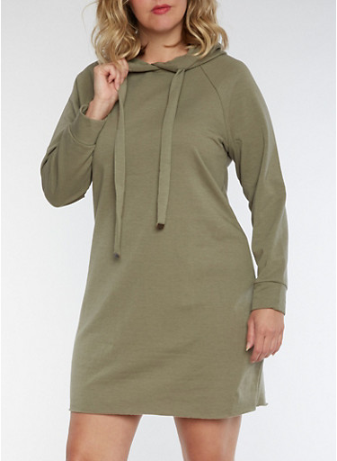 Plus Size Hooded Sweatshirt Dress,OLIVE,large