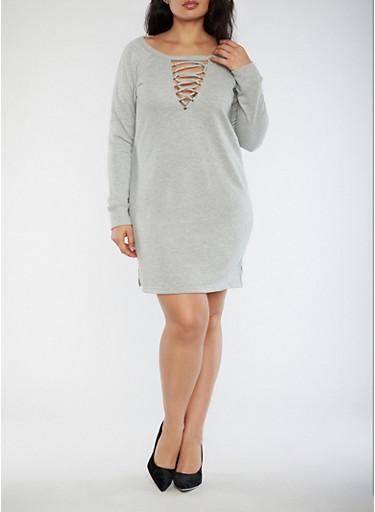 Plus Size Lace Up Sweatshirt Dress,HEATHER,large