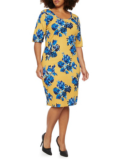 Plus Size Midi Dress in Floral Print,MUSTARD/ROYAL,large