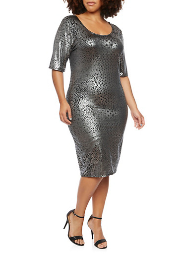 Plus Size Dress in Metallic Leopard Print,SILVER  1436-COR,large