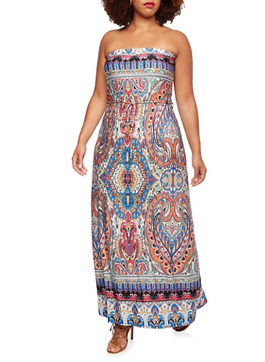 Plus Size Strapless Maxi Dress in Paisley Print,ORANGE,large