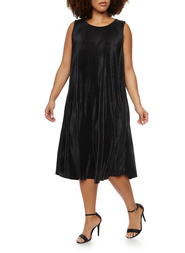 Plus Size Swing Dress in Pleated Knit,BLACK,large