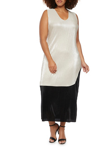 Plus Size Color Block Dress with Metallic Finish,BLK/IVORY,large