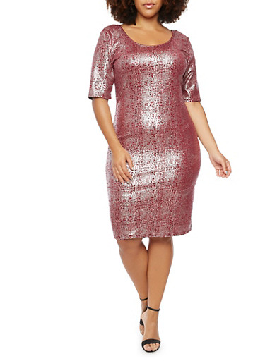 Plus Size Abstract Metallic Foil Dress,BURGUNDY,large