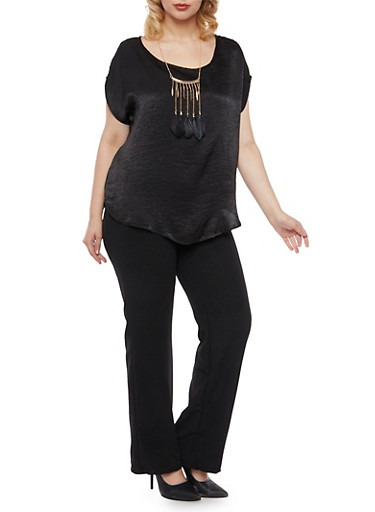 Plus Size Crinkle Knit Top with Feather Necklace,BLACK,large