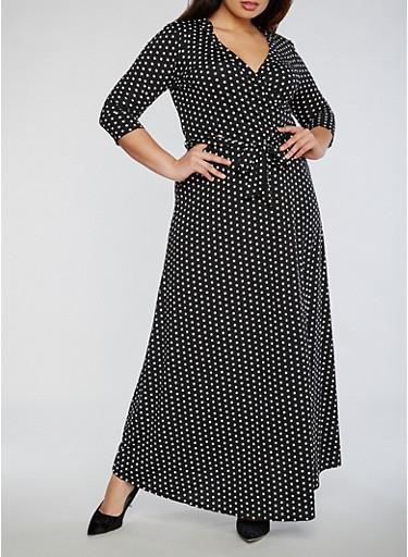 Plus Size Polka Dot Faux Wrap Maxi Dress,BLACK/WHITE,large