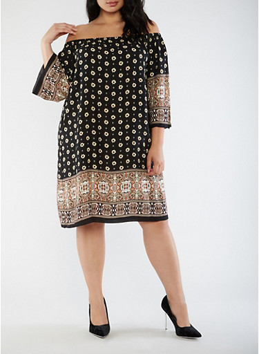 Plus Size Off the Shoulder Printed Dress,BLACK/TAUPE,large
