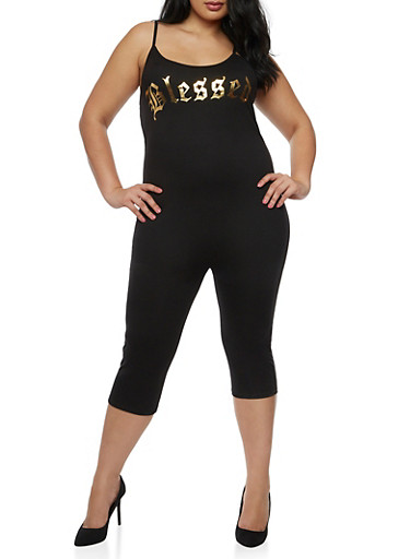 Plus Size Blessed Cropped Catsuit,BLACK,large