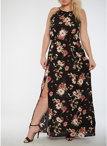 Plus Size Sleeveless Floral Maxi Dress with Cinched Waist,BLACK,large
