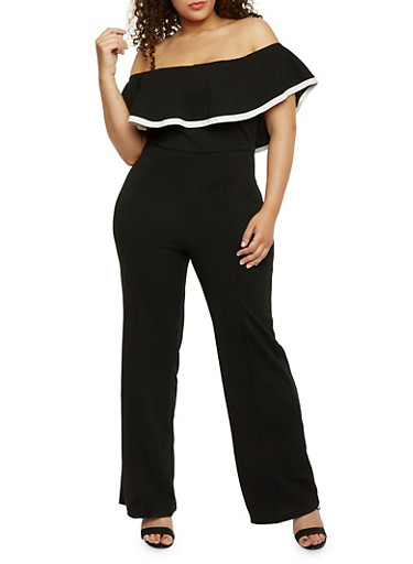Plus Size Ruffled Off the Shoulder Jumpsuit with Contrast Trim,BLACK,large