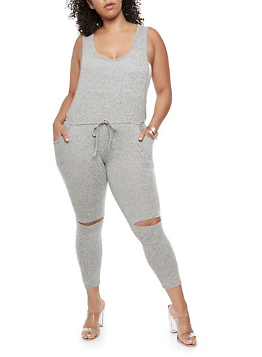 Plus Size Sleeveless Jumpsuit with Slit Knees at Rainbow Shops in Daytona Beach, FL | Tuggl